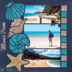 Overlay Stencil What a gorgeous beach day! Scrapbooking layout with multiple pictures using the Lea France Seashells Overlay Stencil.What a gorgeous beach day! Scrapbooking layout with multiple pictures using the Lea France Seashells Overlay Stencil. Cruise Scrapbook Pages, Birthday Scrapbook Pages, Couple Scrapbook, Wedding Scrapbook Pages, Beach Scrapbook Layouts, Vacation Scrapbook, Scrapbook Designs, Scrapbooking Layouts, Vintage Scrapbook