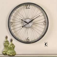Aged Wall Clock Whimsical Bicycle Wheel Antique Silver Quartz Movement Home Diy Clock, Clock Decor, Bicycle Clock, Bicycle Wheel Decor, Big Wall Clocks, Clock Wall, Wall Art, Oversized Clocks, Barn Wood Picture Frames