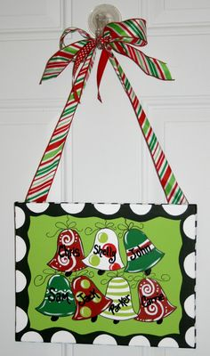 Christmas Bells Ornament Painting on Canvas Hand Painted Art Door Hanger. $29.99, via Etsy.