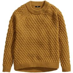 H&M Jumper in a textured knit (8,405 KRW) ❤ liked on Polyvore featuring tops, sweaters, jumpers, h&m, shirts, cognac brown, brown long sleeve shirt, brown tops, shirt sweater and long sleeve sweaters