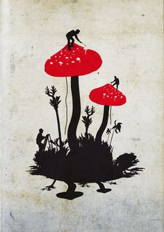 Combination scherenschnitte and amanita. Scherenschnitte is an old form of papercutting from Germany that evolved from snipping silhouettes a couple of centuries ago. Here is a modern version of images usually involving fairies painting flowers and plants.