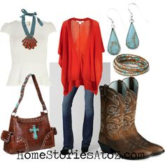 Great t-shirt, shrug and cowboy boots outfit