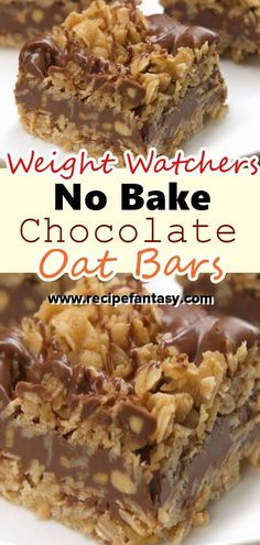 Weight Watchers No Bake Chocolate Oat Bars Recipe – Claudie Recipes - Thea S. Chocolate Oat Bars Recipe, Chocolate Oatmeal Cookies, Chocolate Oats, Baking Chocolate, Weight Watcher Cookies, Weight Watchers Desserts, Weight Watchers Brownies, Ww Desserts, Delicious Desserts