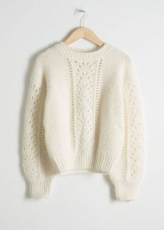 Eyelet Knit Sweater - White - Knitwear - & Other Stories White Knit Sweater, Cable Knit Sweaters, White Sweaters, Sweater Outfits, Cute Outfits, Sweater Fashion, Pullover Outfit, Crewneck Sweater, Leather Midi Skirt