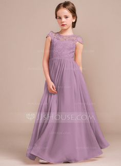 Bridesmaid Gowns A-Line/Princess Scoop Neck Floor-Length Zipper Up Covered Button Cap Straps Sleeveless No Blushing Pink General Chiffon Lace Junior Bridesmaid Dress - Beautiful Dresses, Nice Dresses, Girls Dresses, Flower Girl Dresses, Party Dresses, Wedding Dresses, Flower Girls, Pageant Dresses, Evening Dresses