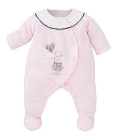 Look at this #zulilyfind! Light Pink Plush Velour Bunny Footie by Sucre d'Orge #zulilyfinds