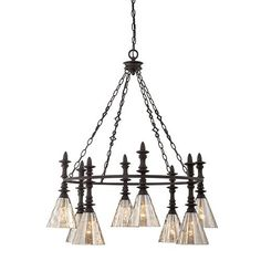 Darian Bronze Eight Light Chandelier