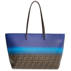 Women's Fendi 'Zucca - Ombre' Roll Tote ($1,025) ❤ liked on Polyvore featuring bags, handbags, tote bags, logo tote bags, turquoise tote, structured tote bag, structured handbags and fendi tote