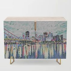 Pittsburgh View from North Shore Credenza Beautiful Paintings Of Nature, Paintings I Love, Nature Paintings, Watercolor Paintings, Glassell School Of Art, Bedroom Artwork, Artwork Ideas, North Shore, Cool Walls