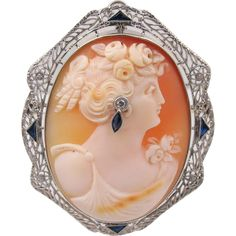 14K White Gold Cameo Pendant Brooch, Sapphire Diamond Accents -- found at www.rubylane.com @rubylanecom #VintageBeginsHere #cameo