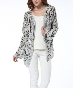 Another great find on #zulily! Gray & White Crochet Cardigan by Simply Couture #zulilyfinds