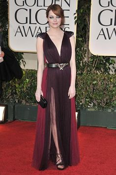 Emma Stone's best red carpet outfits—The Golden Globe Awards, 2012