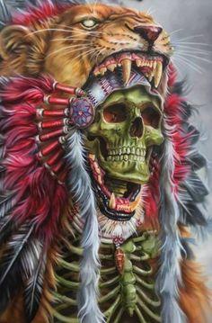Skull and headdress Arte Horror, Horror Art, Tattoo Indio, Indian Skull Tattoos, Backpiece Tattoo, Skull Pictures, Aztec Warrior, Skull Artwork, Tatoo