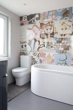 Banksy's tiles by Tiles Direct can be seen in the upper floor bathroom.