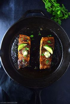 Blackened salmon with cilantro lime butter may be the easiest, most delicious salmon recipe you will EVER make. Never blackened fish before? It's as easy as seasoning a filet with blackening seasoning and searing for 3-4 minutes per side in a pan or preferably a cast iron skillet, of course. Cast iron