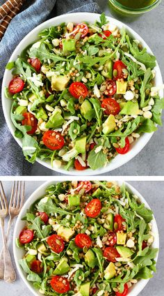Summer Arugula Salad with Israeli couscous, avocado, corn, tomatoes, cheese, pepitas, and a simple basil vinaigrette. This fresh and easy salad goes great with any summer meal or can be your meal! Visit twopeasandtheirpod.com for more simple, fresh, and family friendly meals. #familyfriendlymeals #salad #healthy
