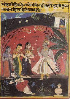 ca. 1640  Uddhav (sent by Krishna) to Console the Dejected Gopis after Krsna departs: a Bhramar Gita. Udaipur,  Mewar, India attr. to Sahibdin