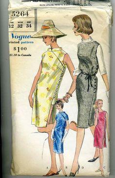 1960s Vogue 5264 Misses Side Button Sheath or Cheongsam/Qipao