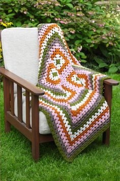 4-Square Granny Afghan. Changing colors:  Olive,  Dusty Green, Beige, Toffee and Chocolate & making 6 squares for the base so it ends up rectangular - very fun! Lion Brand
