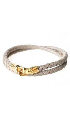 Snake Braided Leather Bracelets Gray