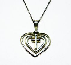 New Listings Daily - Follow Us for UpDates -  Description or Style:    Sterling Silver Heart & Cross Pendant Necklace - Love and Faith Modernist Pendant - Sterling Silver Chain - Signed SU 925 TH - #Vintage 1990s offere... #vintage #jewelry #teamlove #etsyretwt #thejewelseeker ➡️ http://etsy.me/2yyaxMz