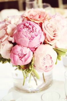 Tischdeko Hochzeit Pfingstrosen rosa