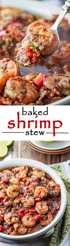 Baked Shrimp Stew in a Mediterranean Chunky Tomato Sauce! Get the step-by-step for this simple eastern Mediterranean one-pot-wonder today! Bursting with flavor! Cooks in only 25 minutes!