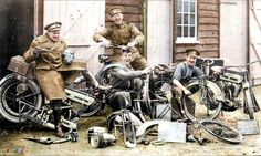 "Despatch Riders and Mechanics of the 60th Divisional Signal Company, Royal Engineers and their 1914 Triumph 4hp 550cc motorcycles.  (Nb. the chalked writing on the lower centre message board is not clear, ""60 Signal RE - One ? Two ? Three We Crash - We Push And Go? ?""  (The Triumph Model H became a dependable and successful motorbike with some 30,000 supplied to the British and allied forces during the Great War.)  (Colourised by Royston Leonard from the UK)"