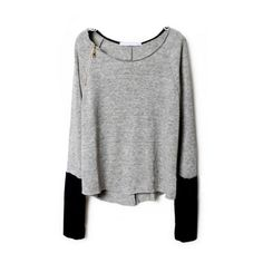 SheIn(sheinside) Light Grey Zippered Curved Hem Jumper ($21) ❤ liked on Polyvore featuring tops, sweaters, sheinside, shirts, bat sleeve shirt, zipper shirt, long sleeve tops, long sleeve jumper and long sleeve pullover sweater