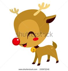 Illustration of cute little Rudolph the red nosed reindeer cartoon character mascot - stock vector