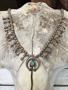 Navajo Squash Blossom Necklace in Sterling Silver & Turquoise