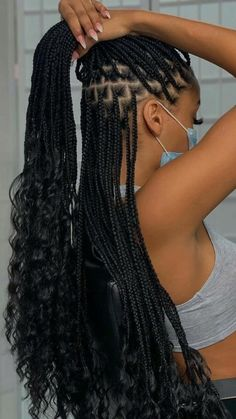 Cute Box Braids Hairstyles, Box Braids Hairstyles For Black Women, Hair Ponytail Styles, Braids Hairstyles Pictures, Dope Hairstyles, African Braids Hairstyles, Braids For Black Hair, Hair Pictures, Curly Hair Styles