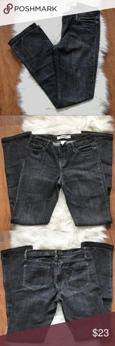"""Gap Low Rise Straight Leg Jeans Charcoal grey distressed jeans in excellent condition.  Waist: 15"""" Outseam: 40"""" Inseam: 31"""" Leg opening: 7.5"""" Front rise: 8"""" Back rise: 11"""". No trades. GAP Jeans Straight Leg"""