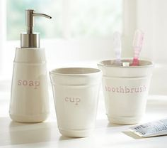 Pink Bath Accessory Set #pbkids  These are adorable.  Suggest getting 2 sets, one for each bath