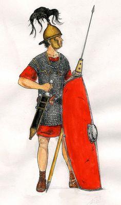 Republican Legionnaire.- CAMPAGNE 58 av JC, 1°: contre les Helvètes et les Boïens, 17: Les Helvètes ont déjà traversé le territoire des Séquanes, comme convenu, et ravagent celui des Eduens, ce qui les a contraint d'en appeler à Rome. Selon Carcopino, César se tient prêt avec ses 6 légions à Lugdunum pour attaquer les Helvétes qui lui tournent le dos en remontant vers le N et accueille la délégation éduenne avec joie.