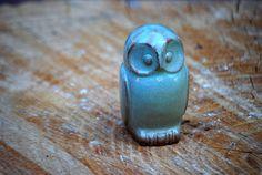 Ceramic Owl rustic home decor in pistachio green