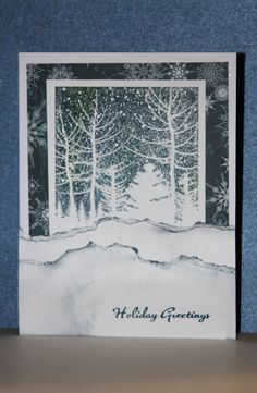 Hero Arts Stamp Snowy Winter Nights (CG0484) stamped w/ Stampin' UP Bordering Blue ink. Torn paper snow drifts.
