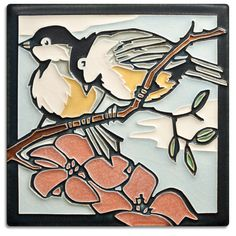 6x6 Spring Chickadees from Motawi Tileworks