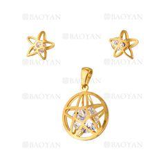 juego dije y aretes de estrellas dorado con cristal en acero inoxidable -SSSTG1033864