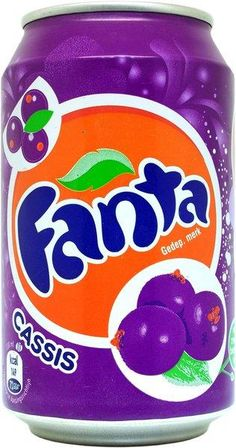 Fanta Cassis logo Coca Cola Can, Pepsi, Kid Drinks, Summer Drinks, Strawberry Kiwi, Fanta Can, Bubble Tea, Bubbles, Sodas