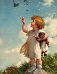 "Zula Kenyon (1873 – 1947, American) Bluebird print. ""A World of Happiness."""