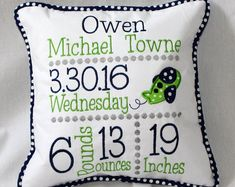 Custom Birth Announcement Pillow - Embroidered with baby's birth information - Navy and Lime color scheme Machine Embroidery Gifts, Free Machine Embroidery Designs, Simple Embroidery, Embroidery Monogram, Embroidery Ideas, Diy Embroidery For Beginners, Embroidered Gifts, Quilting Designs, Birth Announcements