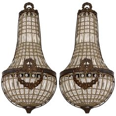 French Pair of Large Empire Sconces | From a unique collection of antique and modern wall lights and sconces at https://www.1stdibs.com/furniture/lighting/sconces-wall-lights/