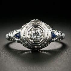 _LOVE_ this Art Deco Diamond and Sapphire Filigree Ring