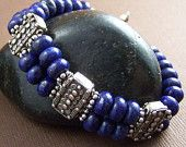 Lapis Lazuli double strand bracelet with lots of ornate Balinese sterling silver. Gorgeous.