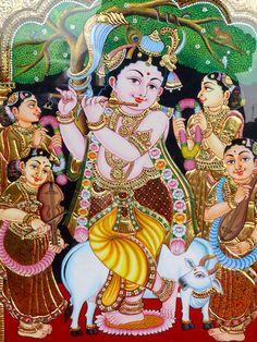 🙏🥀🌷🥀Gopal Krishna with Gopis. Mysore Painting, Tanjore Painting, Krishna Painting, Krishna Art, Lord Krishna, Krishna Lila, Krishna Radha, Lord Shiva, Durga