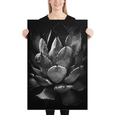 Succulent Print, Black and White Photography Print, Dark Botanical Art, Moody Wall Decor, Cactus Wall Art, Womens Gifts, Bedroom Decor, Neon Room Decor, Bedroom Decor, Wall Decor, Cactus Wall Art, Large Wall Art, Botanical Art, Photographic Prints, Online Art Gallery, Black And White Photography