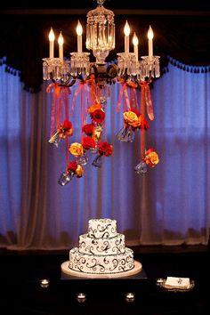 Nashville Garden Wedding Venue | CJ's Off the Square | Black and White Swirl Wedding Cakes - Photo: Myrick Studios