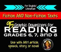 Don't teach Common Core? No problem! Reading Nonfiction & Fiction Graphic Organizers Grades 6, 7, 8