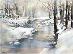 Art Painting - Freshness of Snow - Watercolor Landscape Contemporary Fine Art - Colorful Print - Transparent Purple Colors – Пошук Google